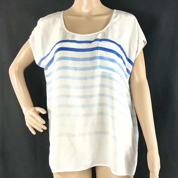a63207fed0 JOIE White Blue Striped Soft Peplum Top 100% Silk